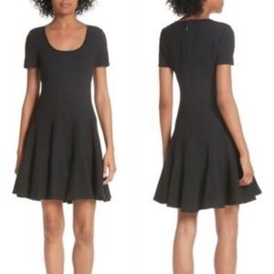Rebecca Taylor Black Textured Fit and Flare Dress
